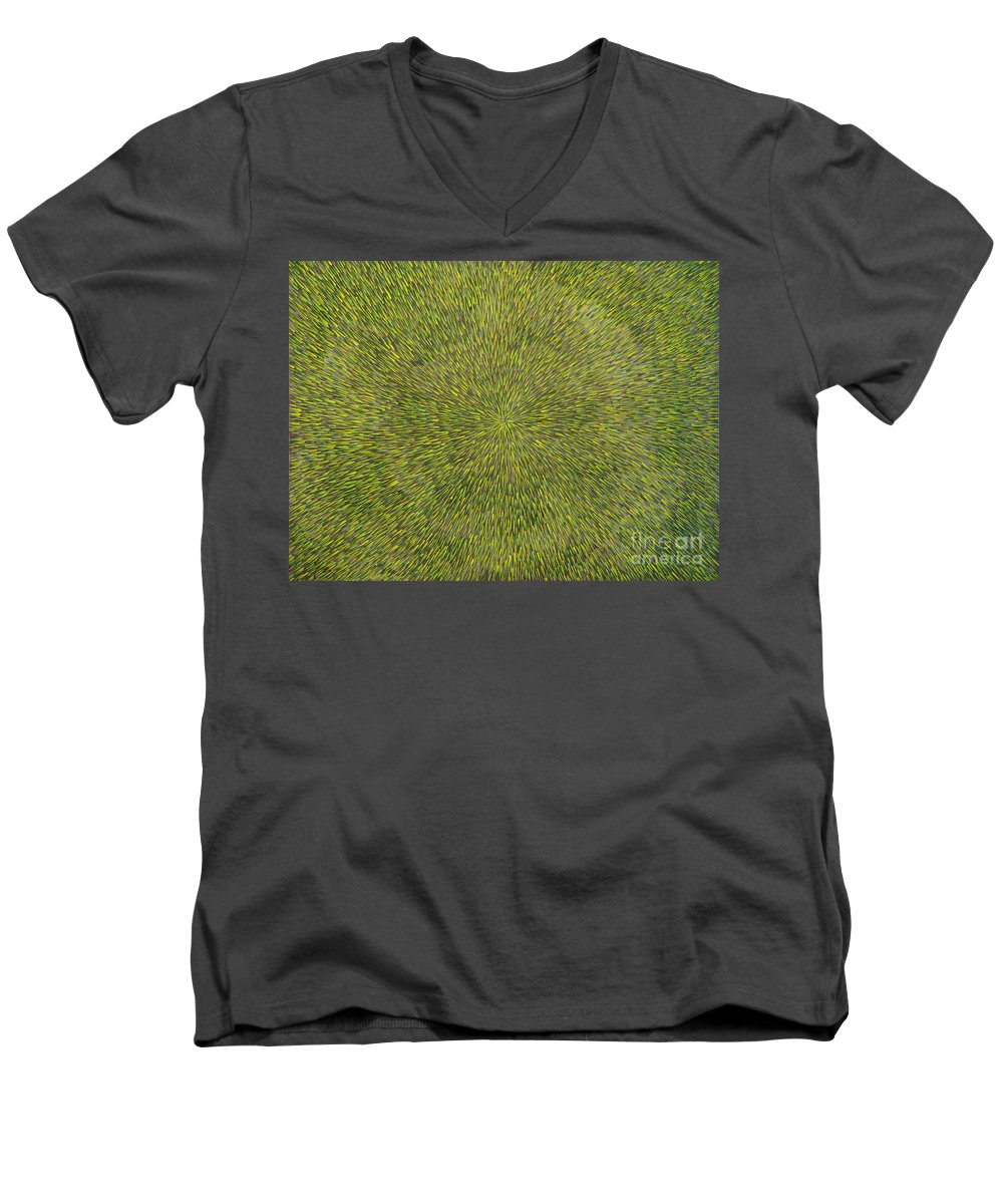 Abstract Men's V-Neck T-Shirt featuring the painting Radiation With Green With Yellow by Dean Triolo