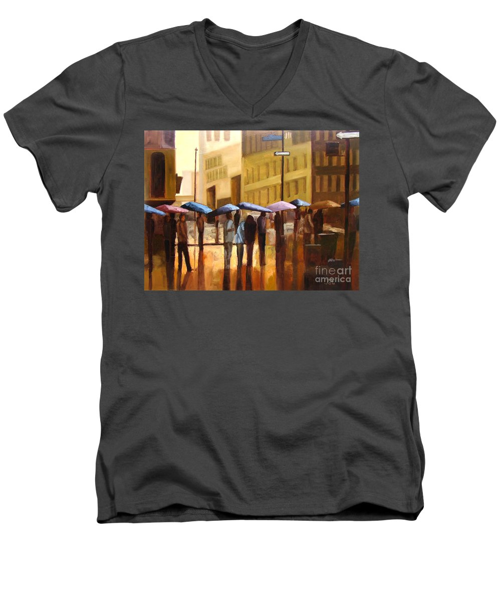 Cityscape Men's V-Neck T-Shirt featuring the painting Rain In Manhattan Number Seventeen by Tate Hamilton