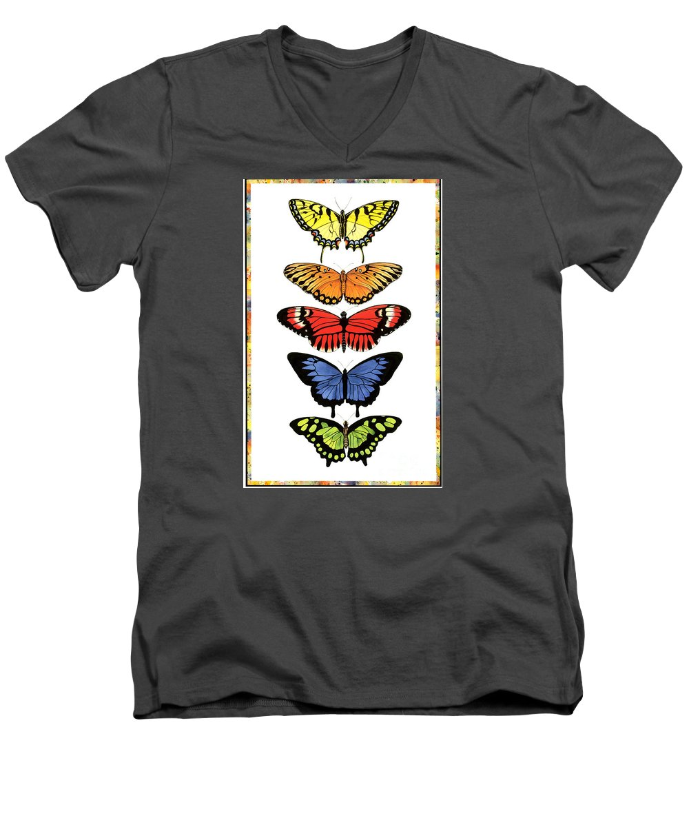 Butterflies Men's V-Neck T-Shirt featuring the painting Rainbow Butterflies by Lucy Arnold