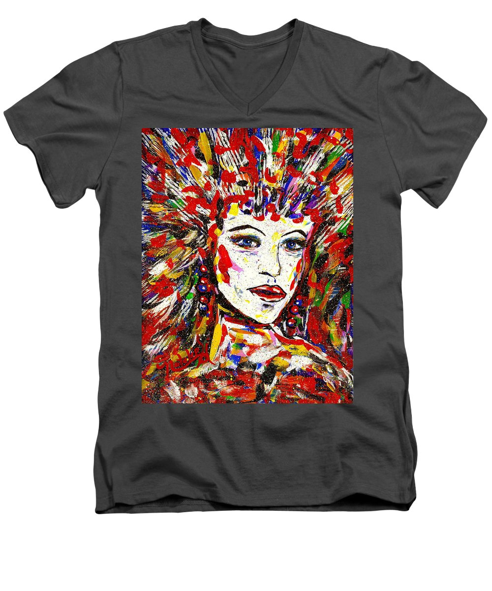 Abstract Art Men's V-Neck T-Shirt featuring the painting Rainbow by Natalie Holland