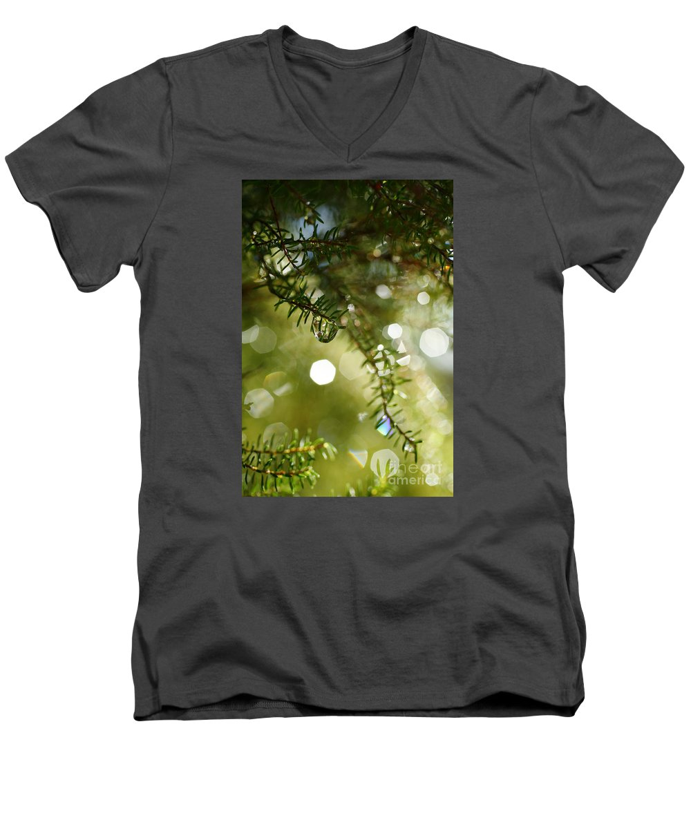 Dew Men's V-Neck T-Shirt featuring the photograph Raindrops by Gaspar Avila