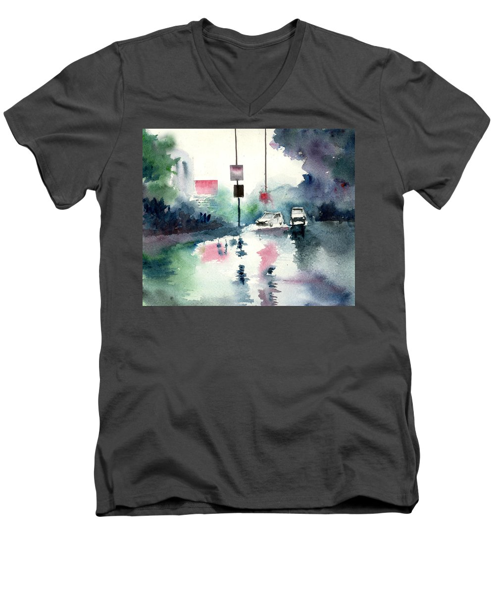 Nature Men's V-Neck T-Shirt featuring the painting Rainy Day by Anil Nene