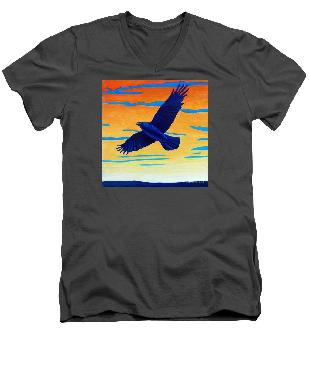Raven Men's V-Neck T-Shirt featuring the painting Raven Rising by Brian Commerford