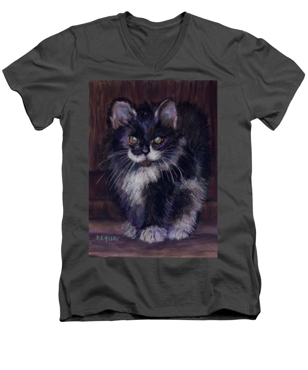Kitten Men's V-Neck T-Shirt featuring the painting Ready For Trouble by Sharon E Allen