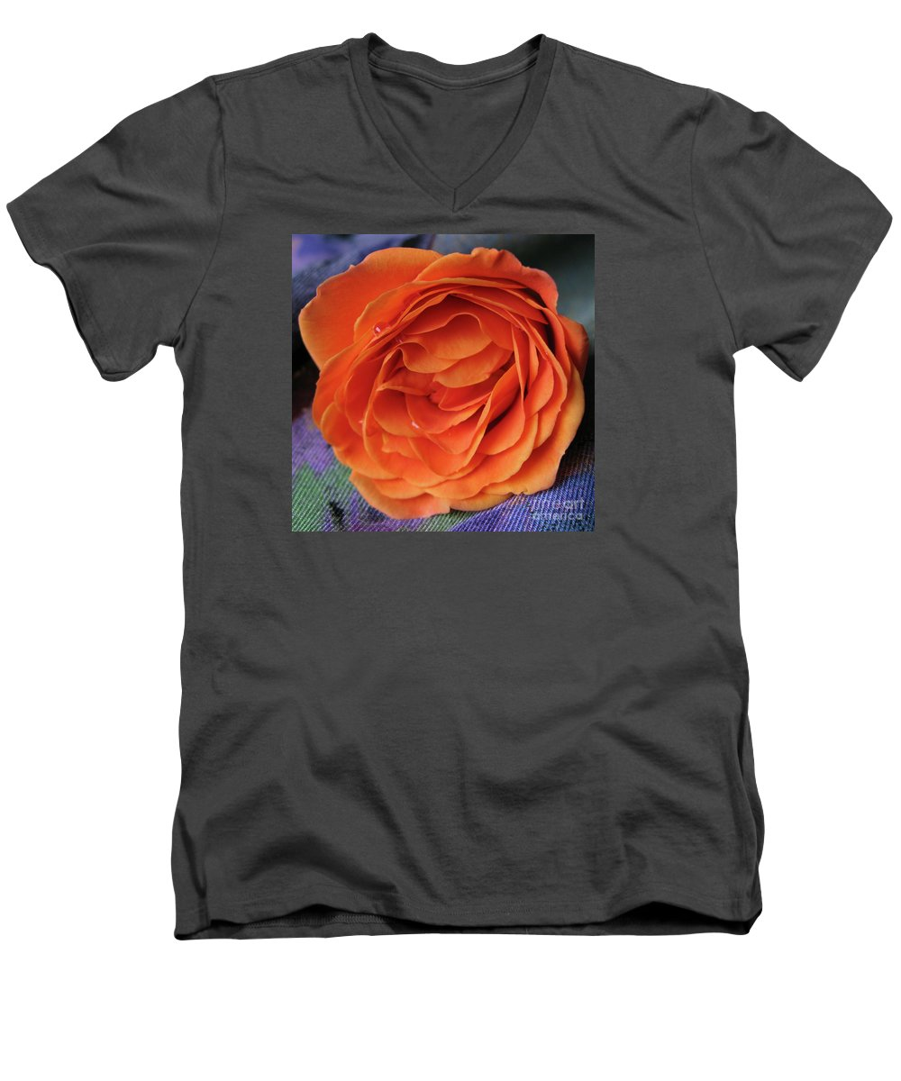 Rose Men's V-Neck T-Shirt featuring the photograph Really Orange Rose by Ann Horn