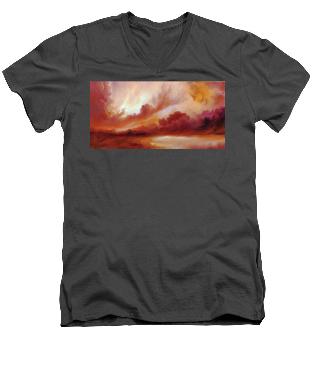 Skyscape Men's V-Neck T-Shirt featuring the painting Receding Storm Sketch IIi by James Christopher Hill