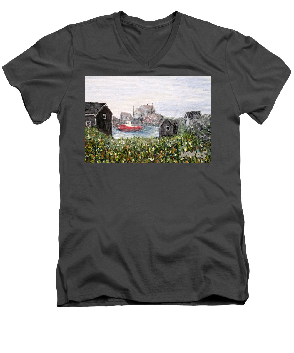 Red Boat Men's V-Neck T-Shirt featuring the painting Red Boat In Peggys Cove Nova Scotia by Ian MacDonald