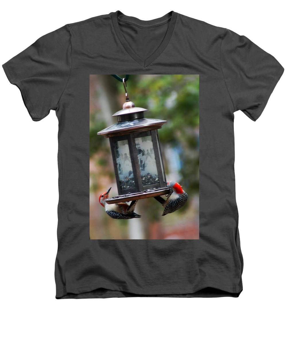 Clay Men's V-Neck T-Shirt featuring the photograph Red Head Wood Peckers On Feeder by Clayton Bruster