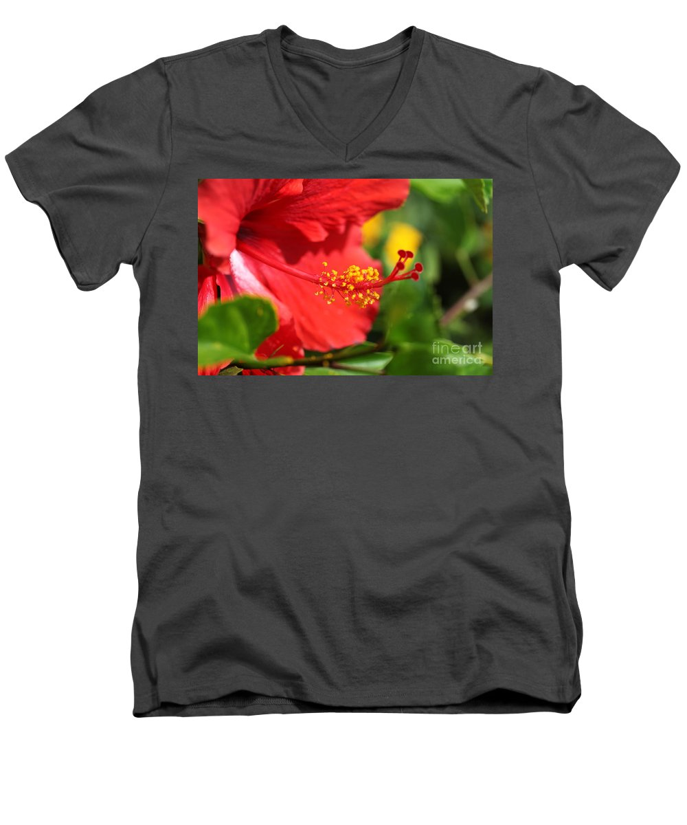 Flowers Men's V-Neck T-Shirt featuring the photograph Red Hibiscus And Green by Nadine Rippelmeyer