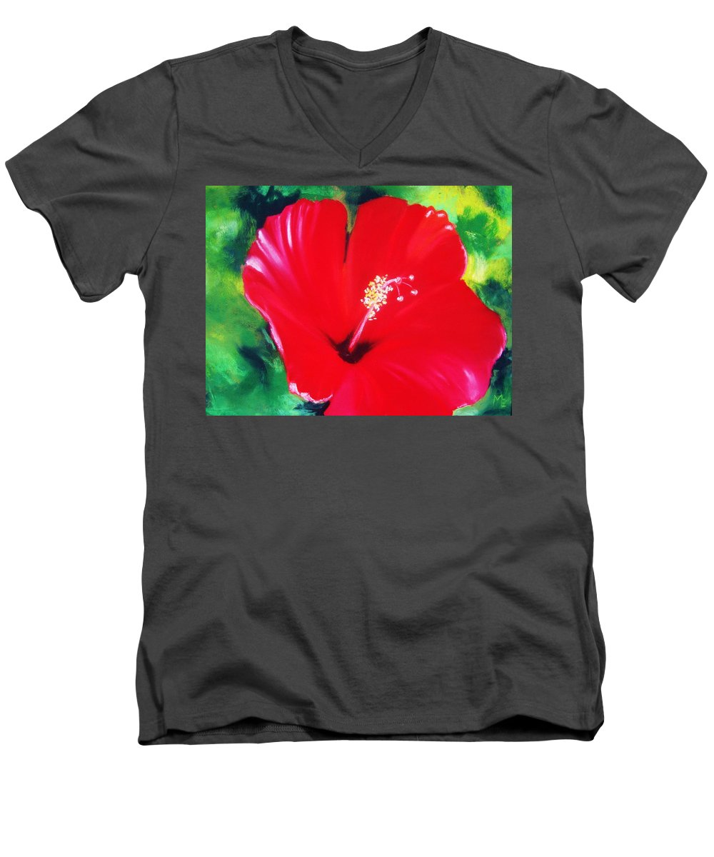 Bright Flower Men's V-Neck T-Shirt featuring the painting Red Hibiscus by Melinda Etzold
