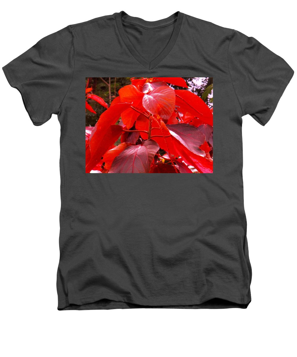 Red Men's V-Neck T-Shirt featuring the photograph Red by Ian MacDonald