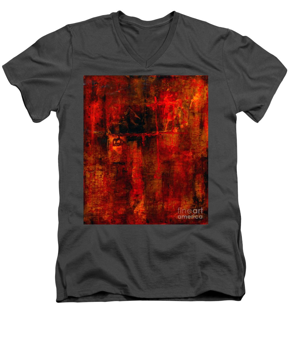 Abstract Painting Men's V-Neck T-Shirt featuring the painting Red Odyssey by Pat Saunders-White