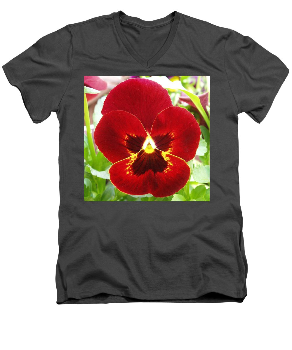 Red Men's V-Neck T-Shirt featuring the photograph Red Pansy by Nancy Mueller