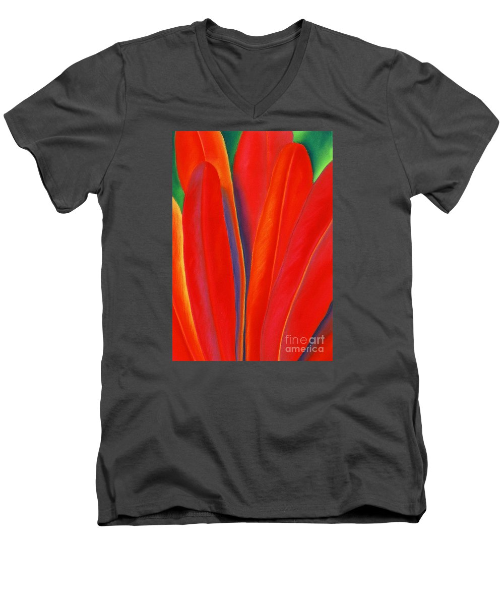 Red Men's V-Neck T-Shirt featuring the painting Red Petals by Lucy Arnold