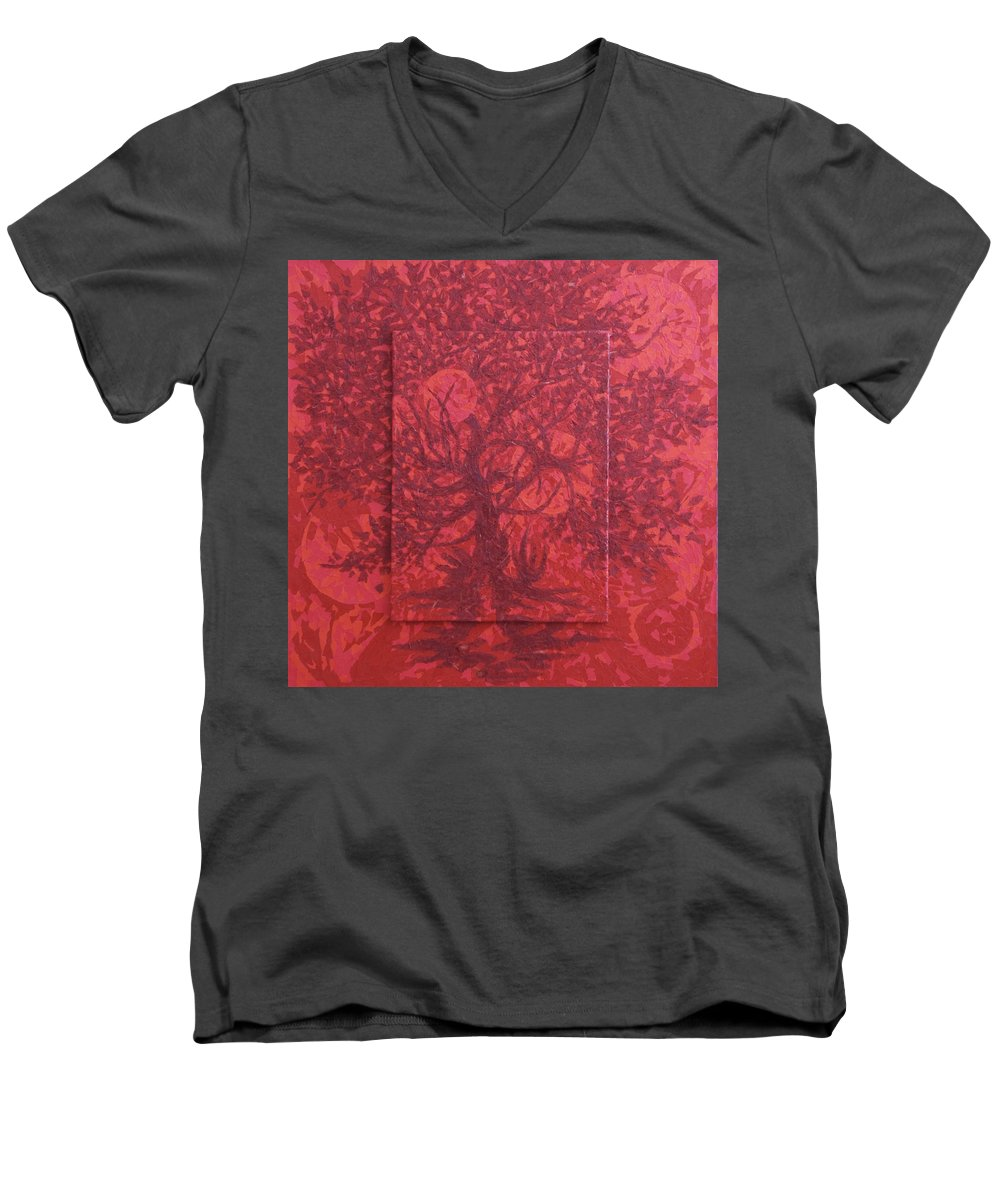 Red Men's V-Neck T-Shirt featuring the painting Red Planet by Judy Henninger