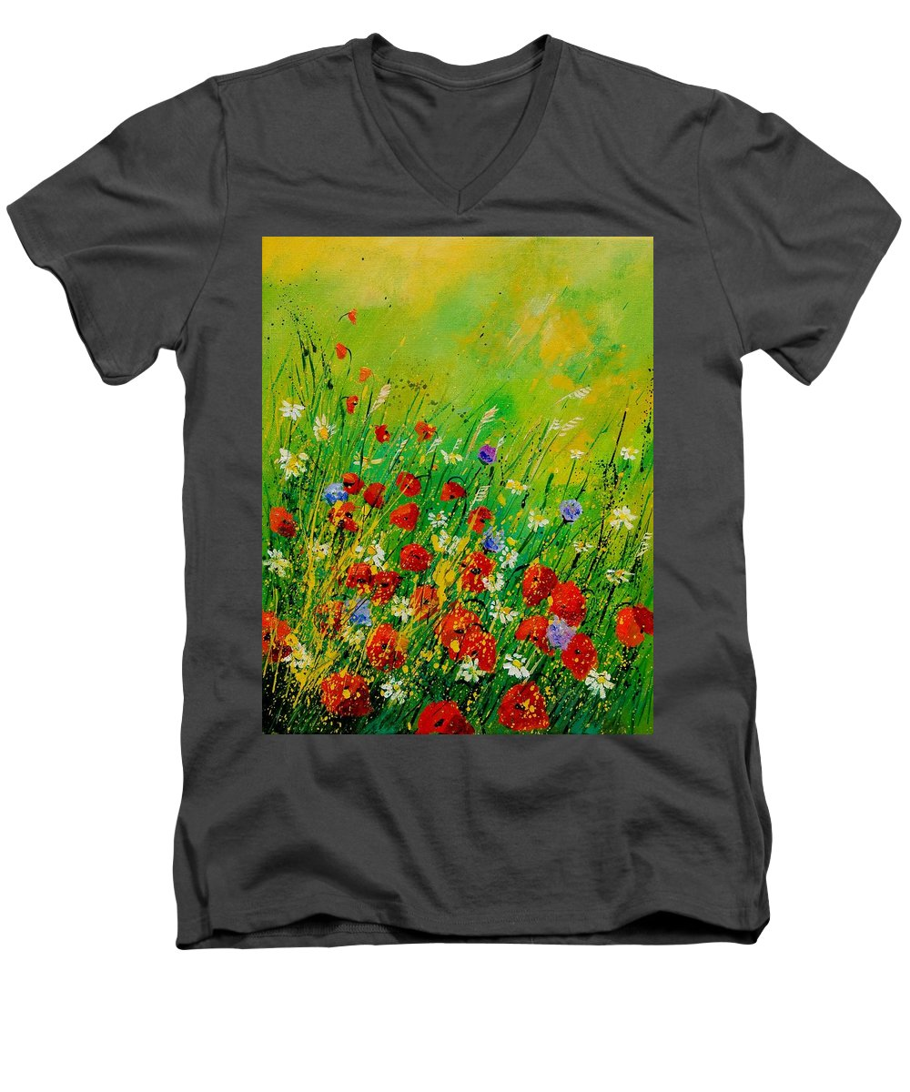 Flowers Men's V-Neck T-Shirt featuring the painting Red Poppies 450708 by Pol Ledent