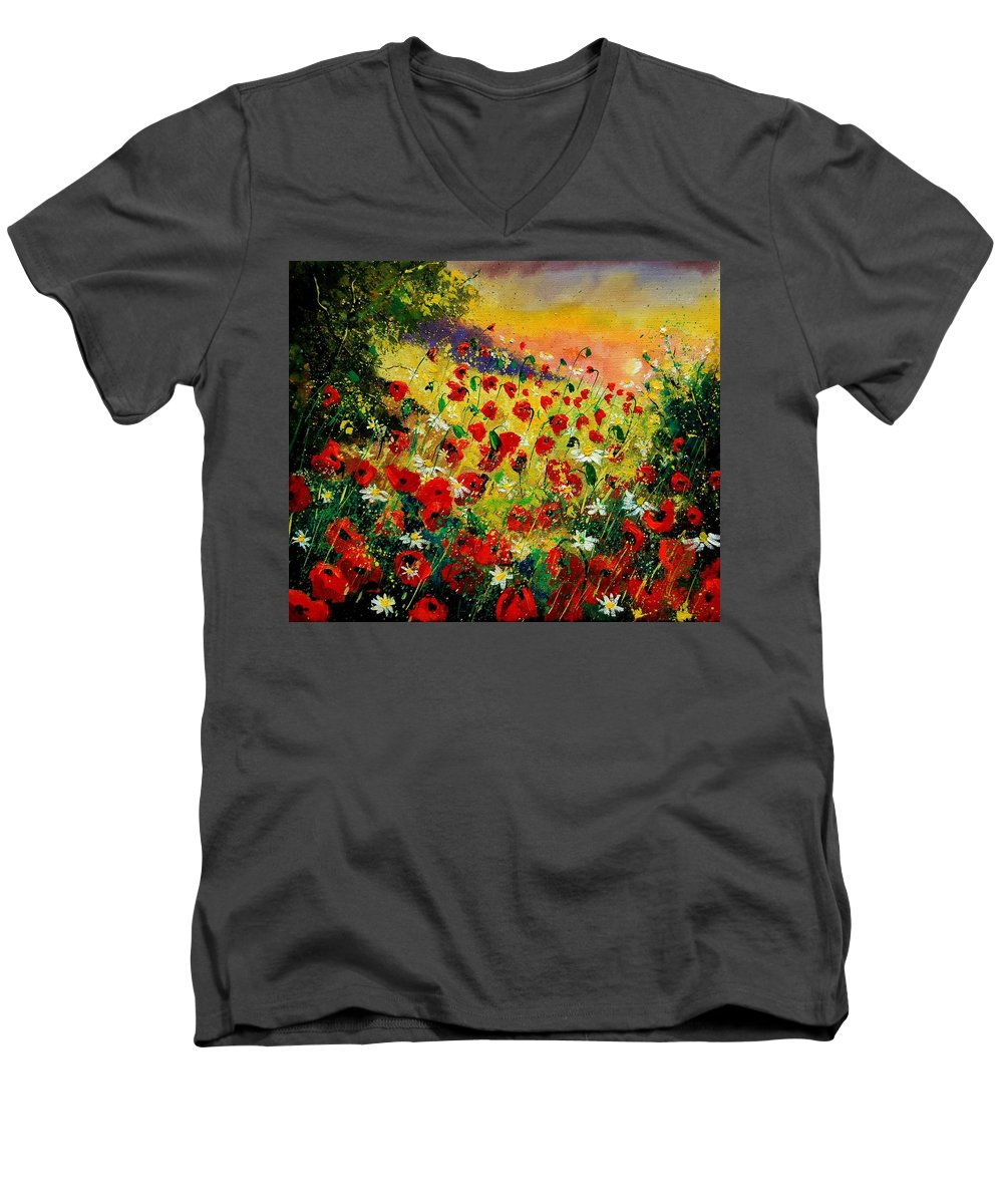 Tree Men's V-Neck T-Shirt featuring the painting Red Poppies by Pol Ledent