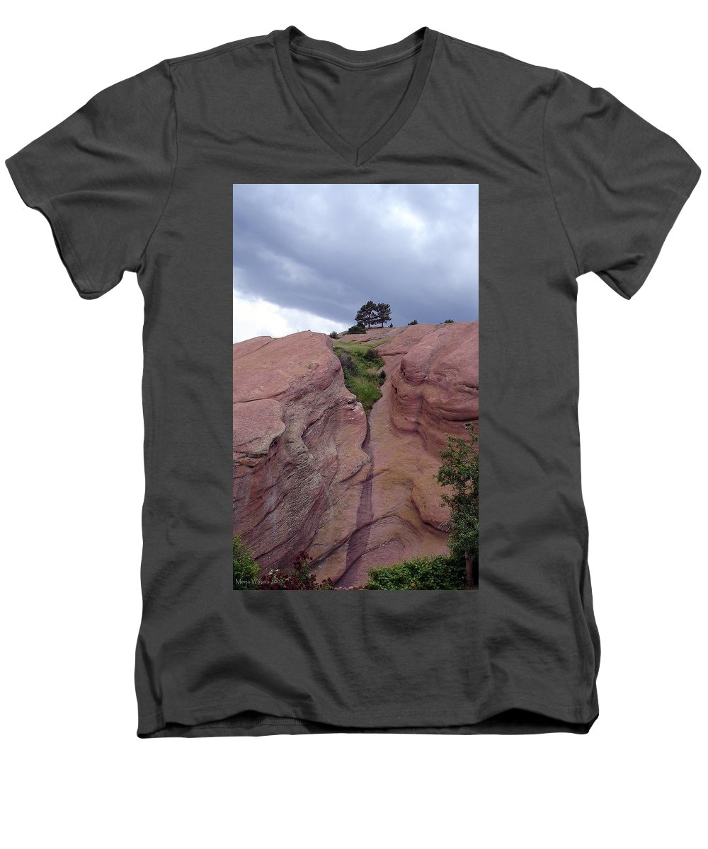 Red Rocks Men's V-Neck T-Shirt featuring the photograph Red Rocks by Merja Waters