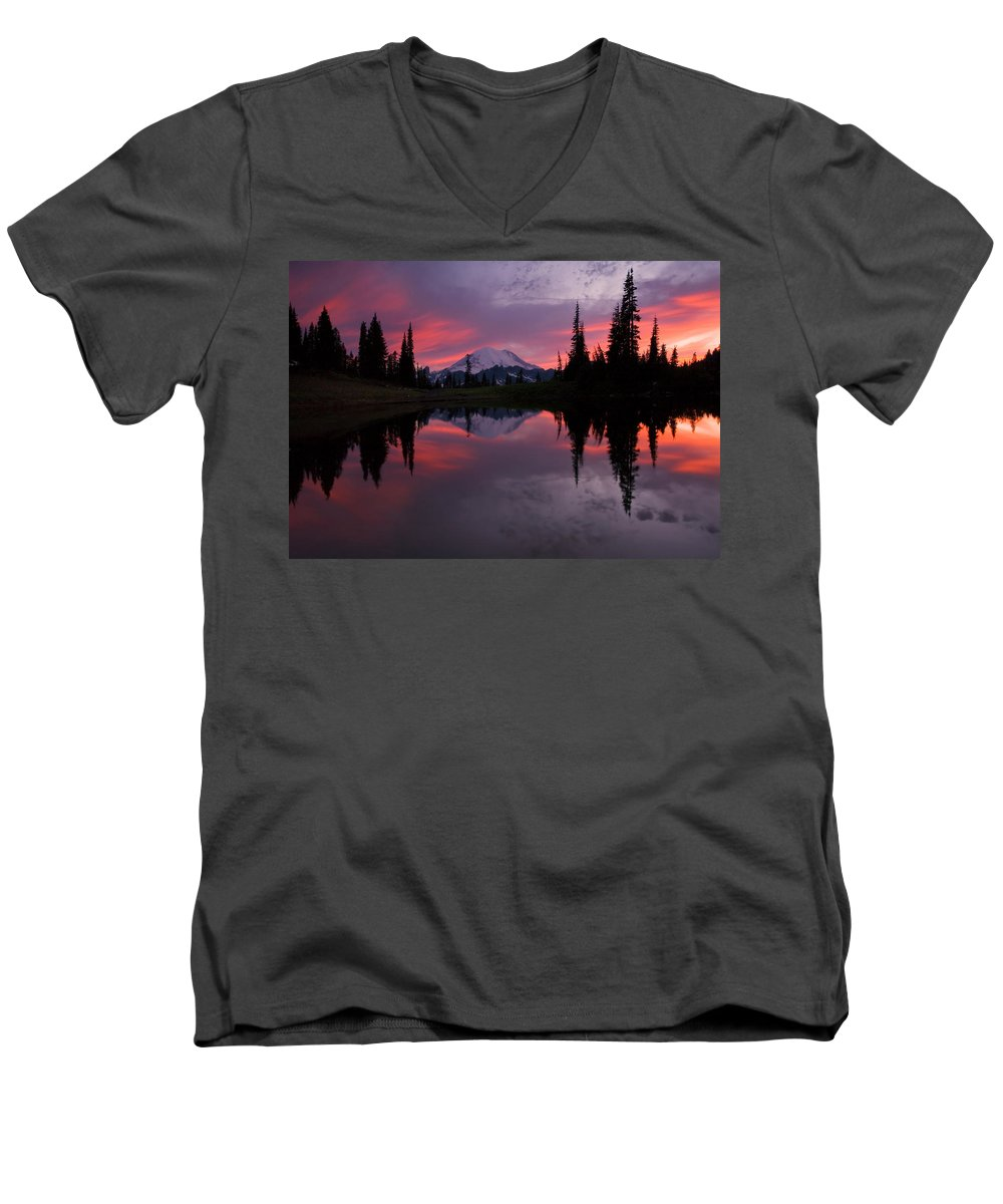Rainier Men's V-Neck T-Shirt featuring the photograph Red Sky At Night by Mike Dawson
