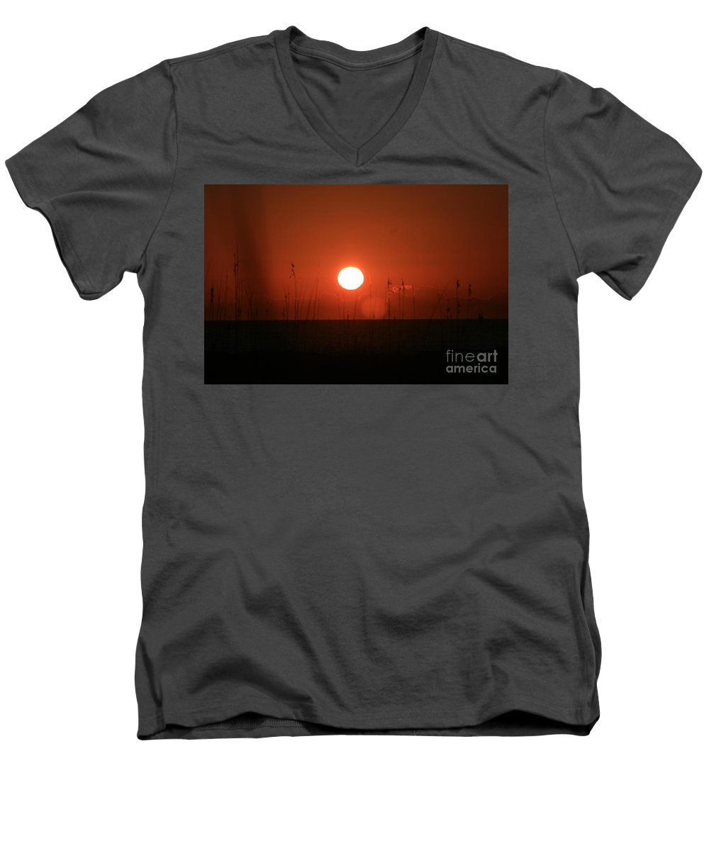 Sunset Men's V-Neck T-Shirt featuring the photograph Red Sunset And Grasses by Nadine Rippelmeyer