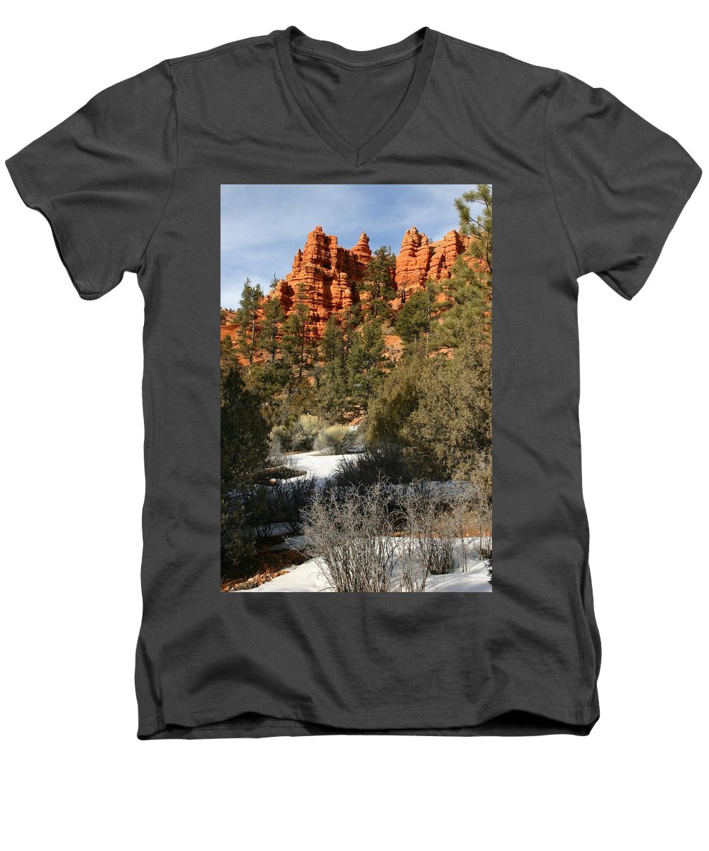 Red Rocks Men's V-Neck T-Shirt featuring the photograph Redrock Winter by Nelson Strong
