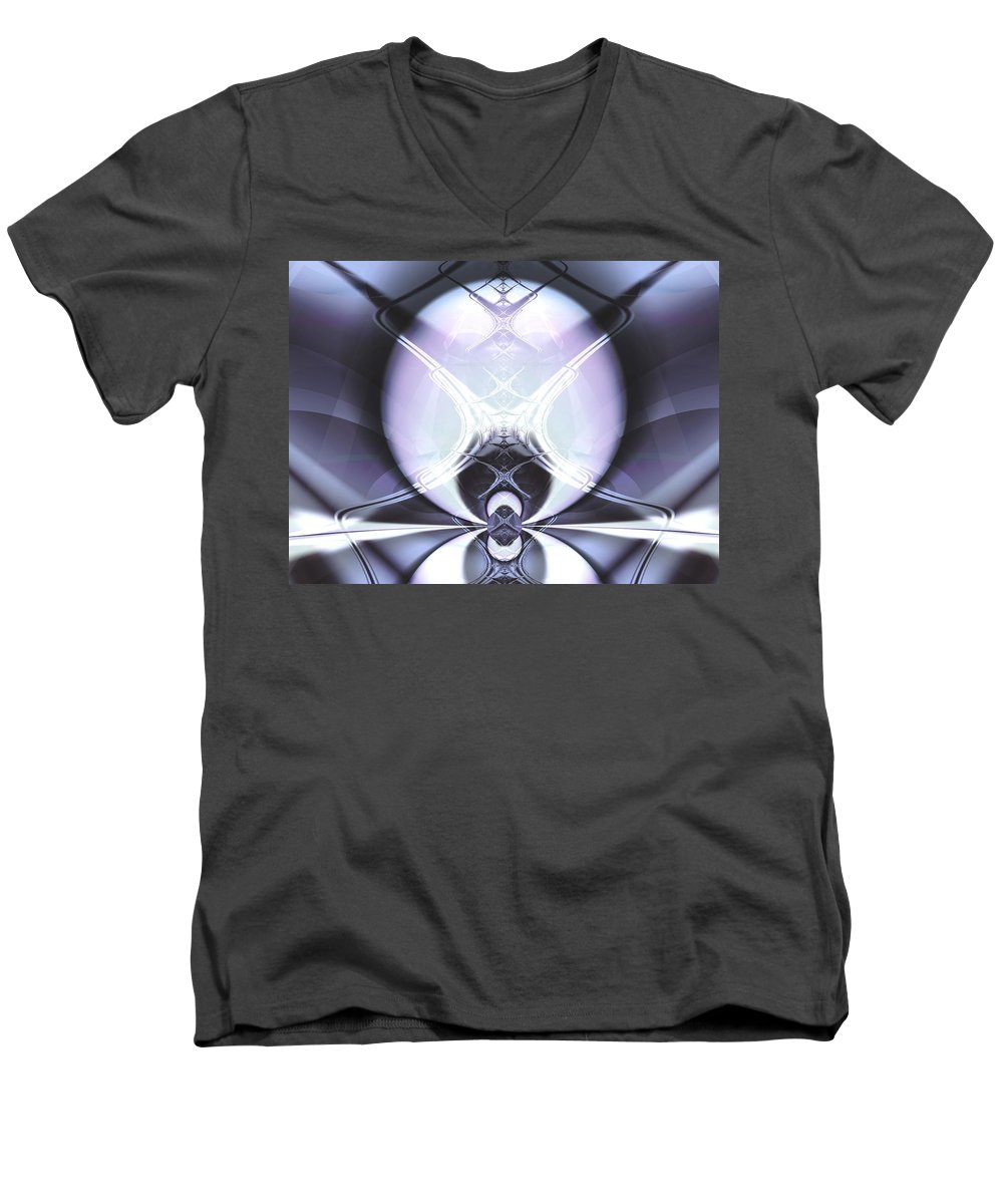 Digital Art Men's V-Neck T-Shirt featuring the digital art Reflecting Gateway by Frederic Durville