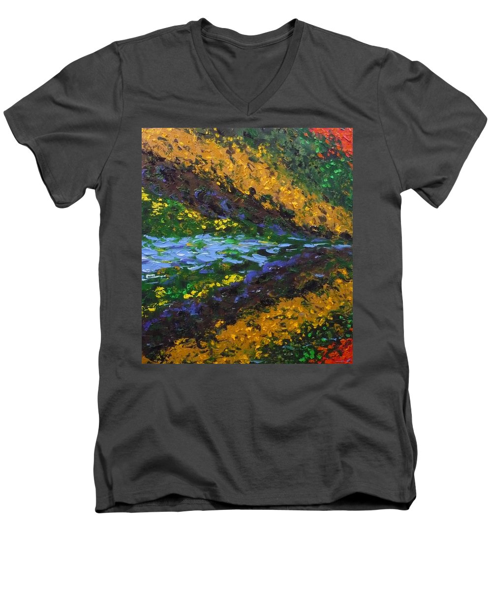 Landscape Men's V-Neck T-Shirt featuring the painting Reflection One by Ericka Herazo