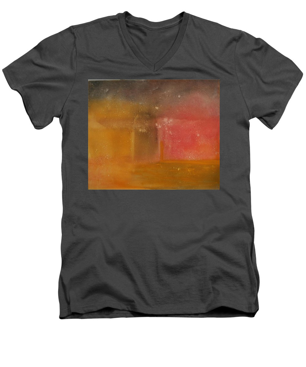 Storm Summer Red Yellow Gold Men's V-Neck T-Shirt featuring the painting Reflection Summer Storm by Jack Diamond