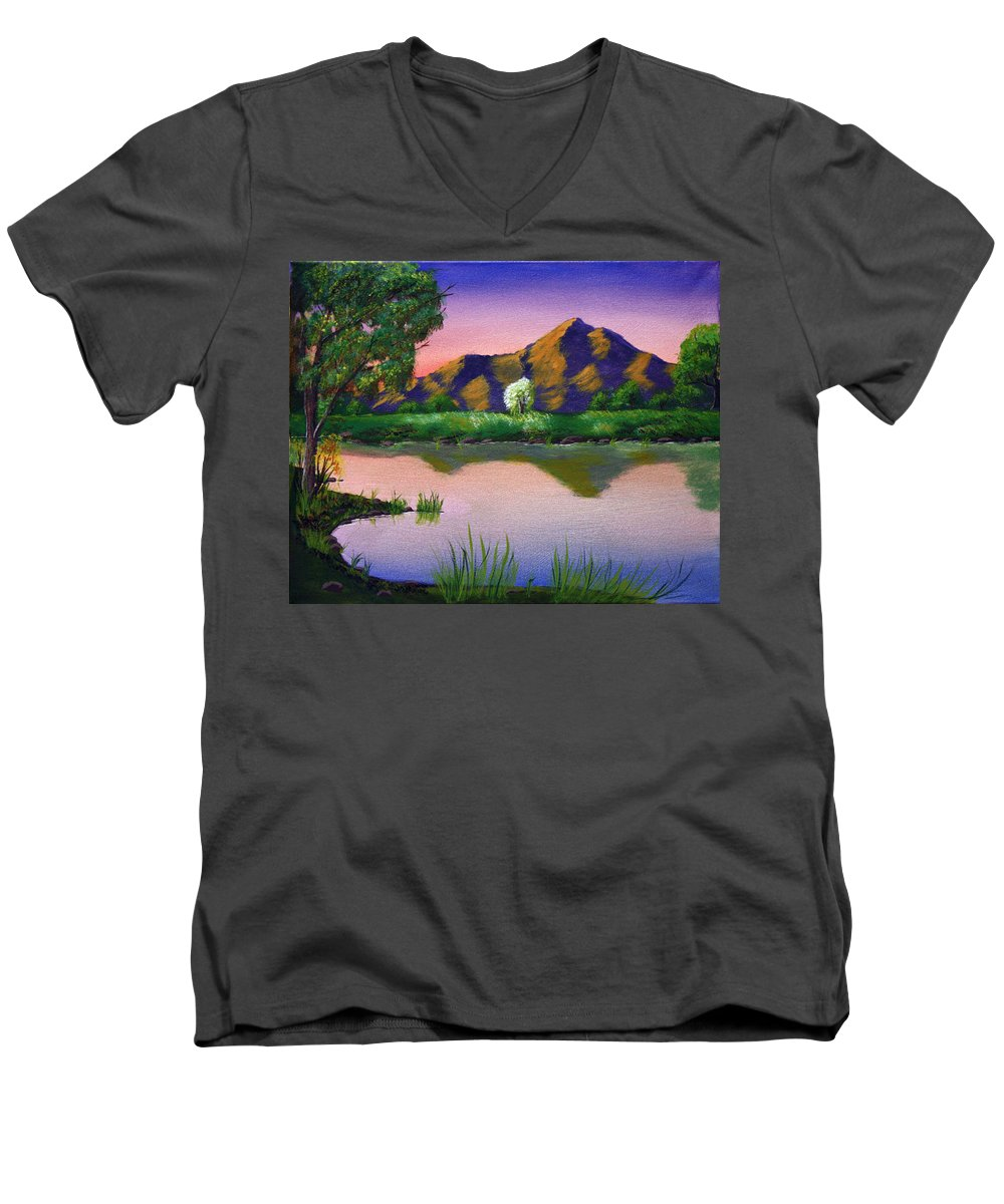 Landscape Men's V-Neck T-Shirt featuring the painting Reflections In The Breeze by Dawn Blair