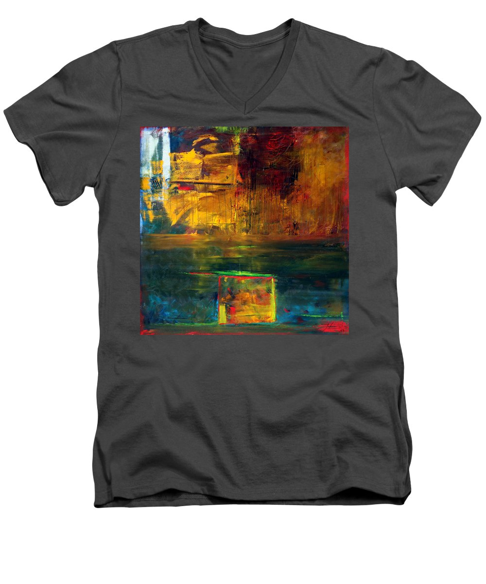 New York City Reflection Red Yellow Blue Green Men's V-Neck T-Shirt featuring the painting Reflections Of New York by Jack Diamond