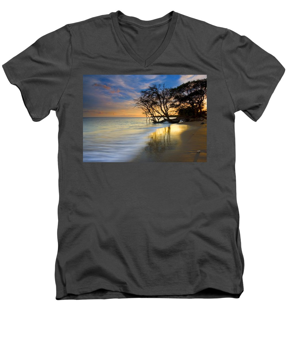 Waves Men's V-Neck T-Shirt featuring the photograph Reflections Of Paradise by Mike Dawson
