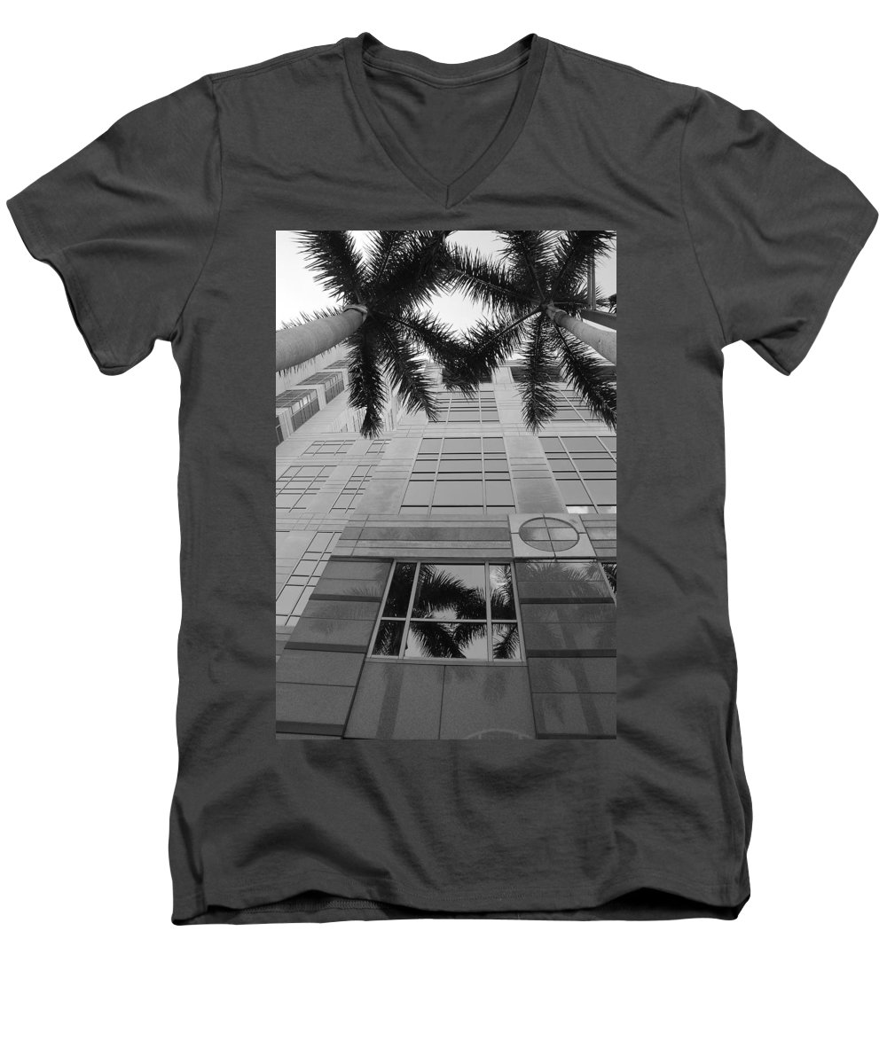Architecture Men's V-Neck T-Shirt featuring the photograph Reflections On The Building by Rob Hans