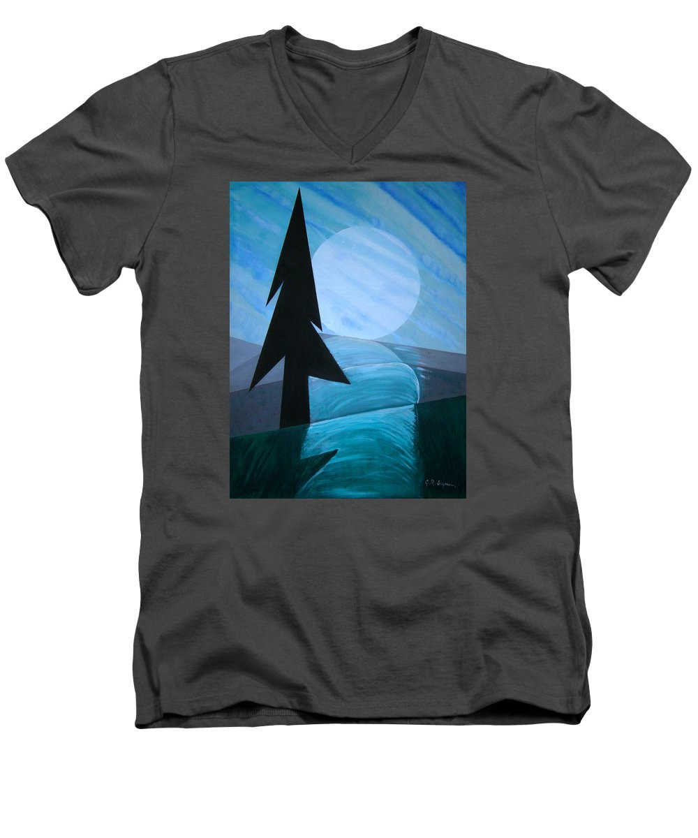 Phases Of The Moon Men's V-Neck T-Shirt featuring the painting Reflections On The Day by J R Seymour