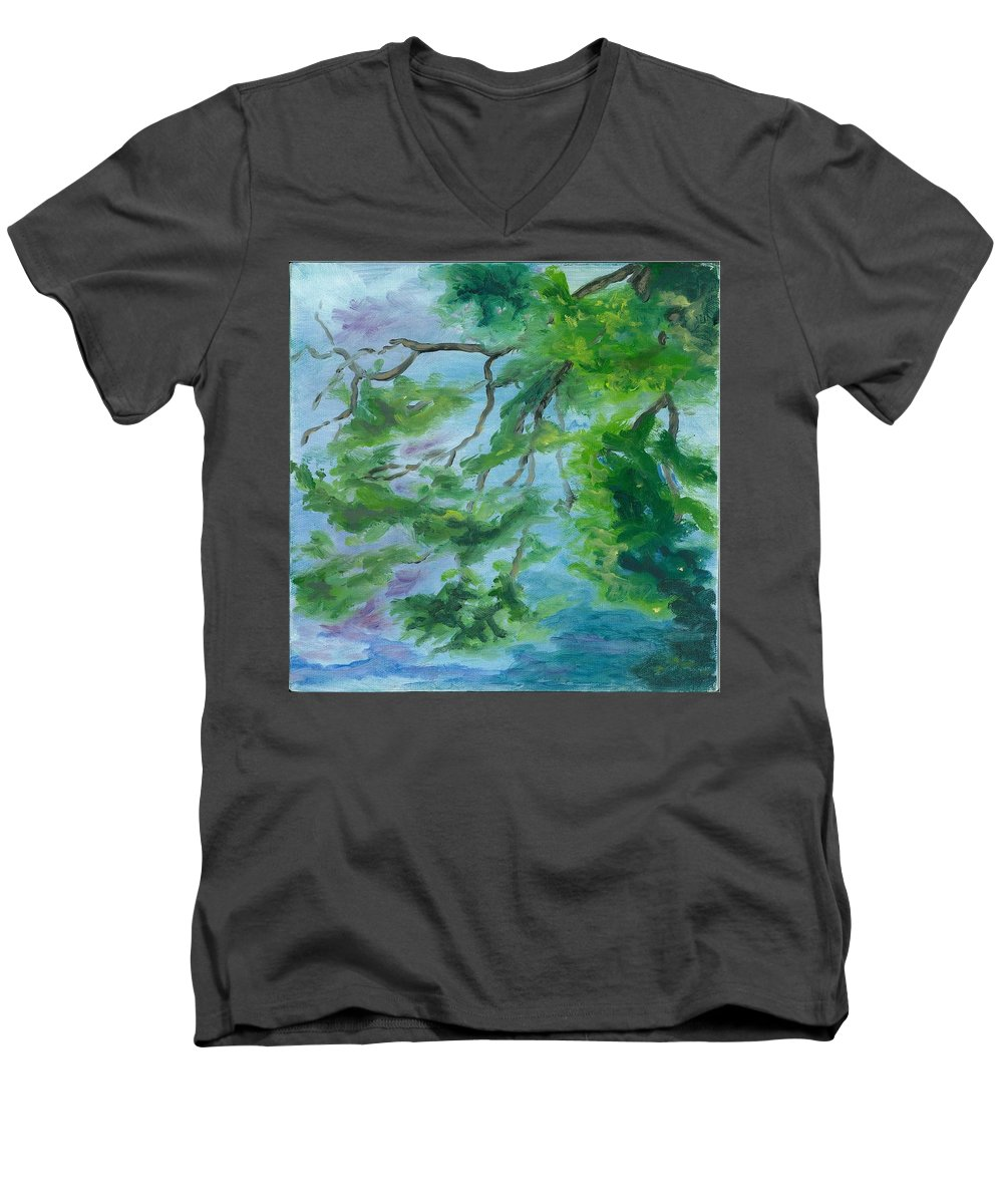 Reflections Men's V-Neck T-Shirt featuring the painting Reflections On The Mill Pond by Paula Emery