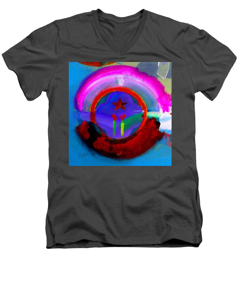 Love Men's V-Neck T-Shirt featuring the painting Regeneration by Charles Stuart