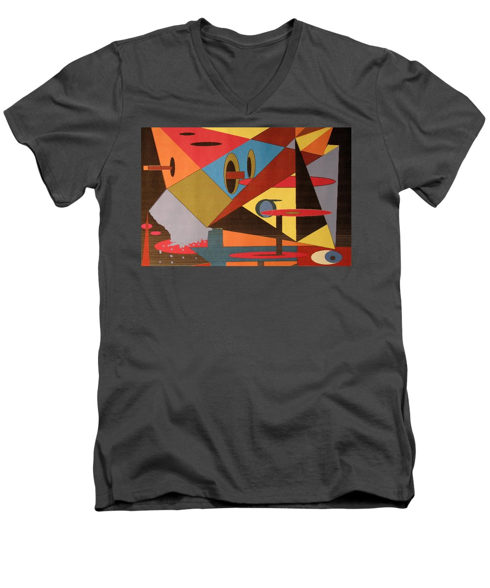 Abstract Men's V-Neck T-Shirt featuring the digital art Regret by Ian MacDonald