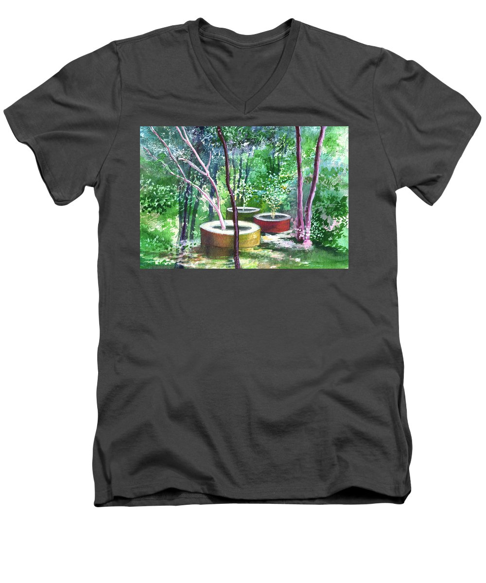 Opaque Landscape Men's V-Neck T-Shirt featuring the painting Relax Here by Anil Nene
