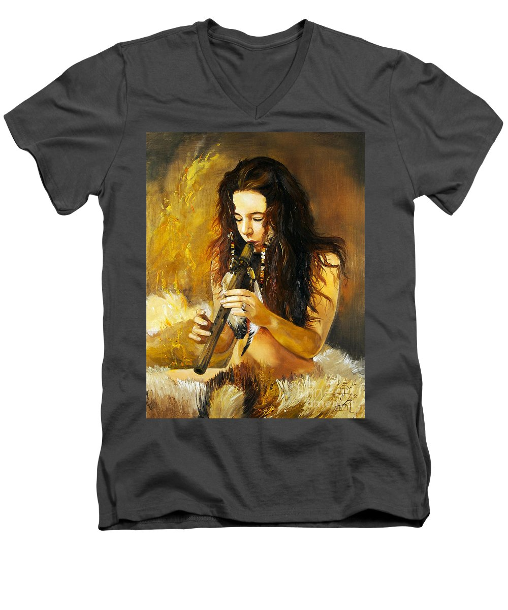 Woman Men's V-Neck T-Shirt featuring the painting Release by J W Baker