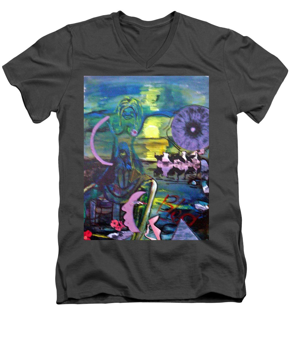 Water Men's V-Neck T-Shirt featuring the painting Remembering 9-11 by Peggy Blood