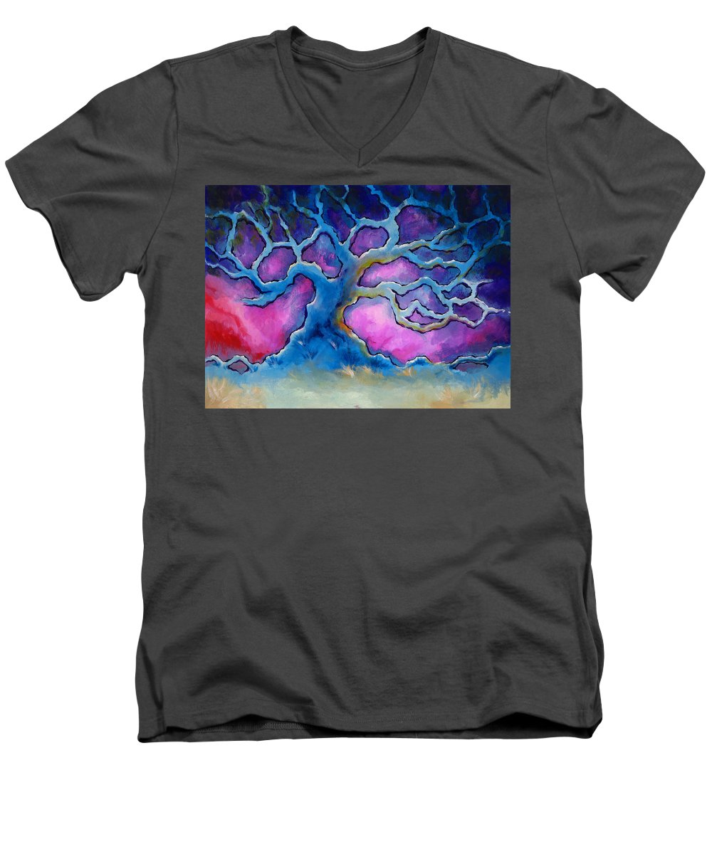 Landscape Men's V-Neck T-Shirt featuring the painting Ria by Jennifer McDuffie
