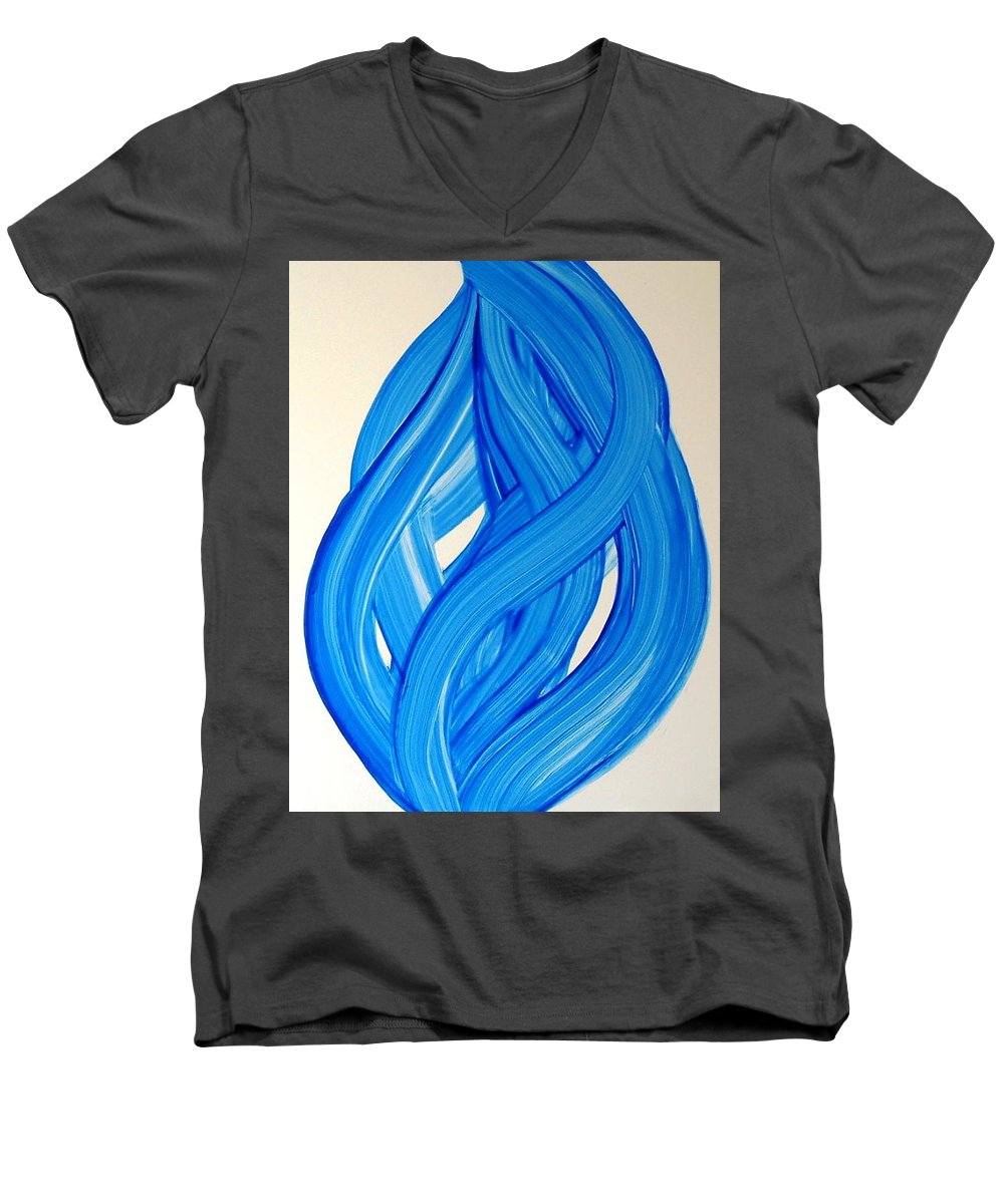 Abstract Modern Contemporary Yupo Art Painting Romantic Pop Blue Men's V-Neck T-Shirt featuring the painting Ribbons Of Love-blue by Manjiri Kanvinde