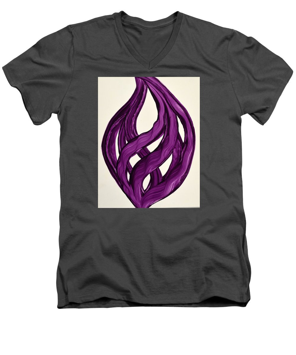 Abstract Art Yupo Comtemporary Modern Pop Romantic Vibrant Men's V-Neck T-Shirt featuring the painting Ribbons Of Love-violet by Manjiri Kanvinde