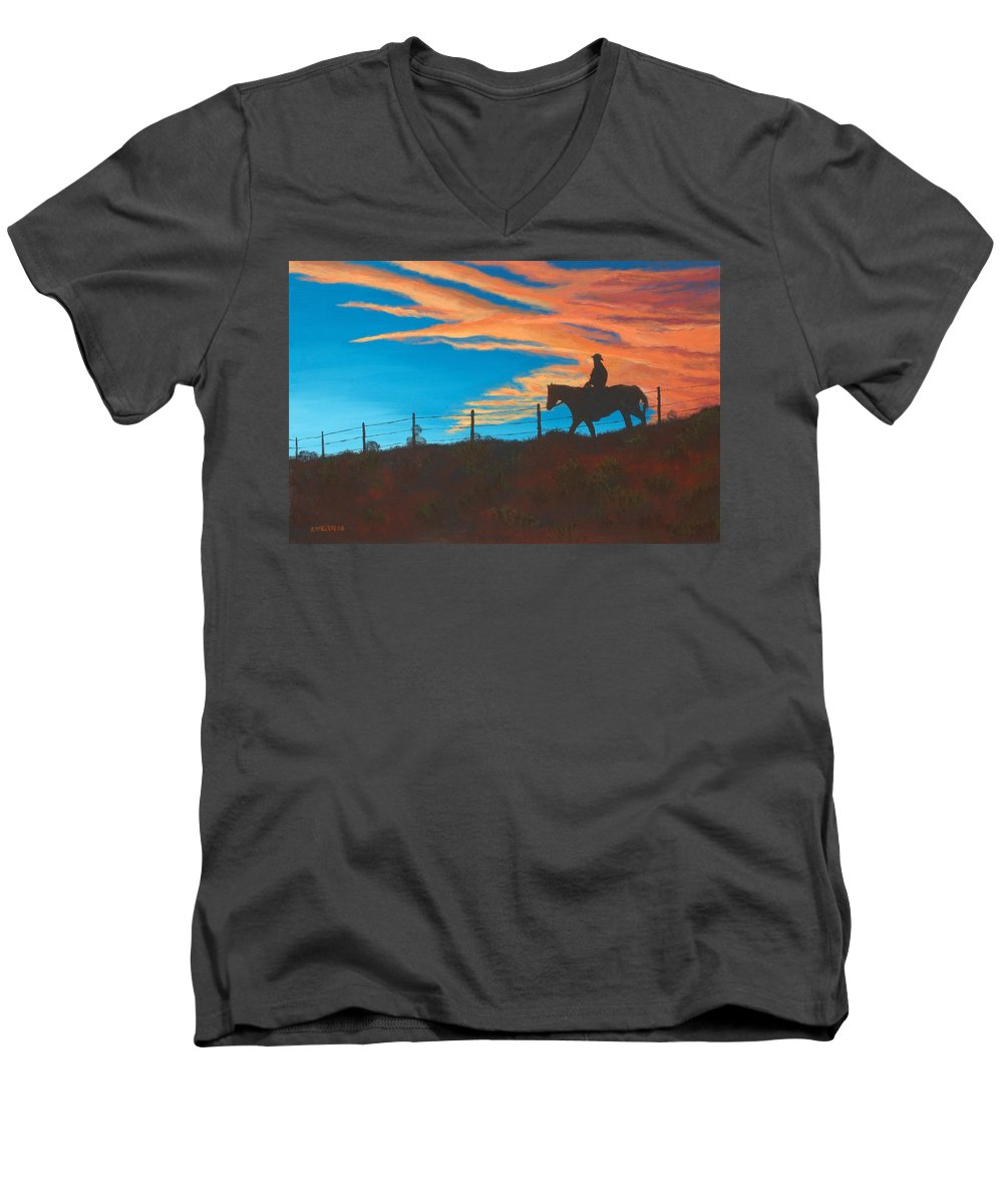 Cowboy Men's V-Neck T-Shirt featuring the painting Riding Fence by Jerry McElroy