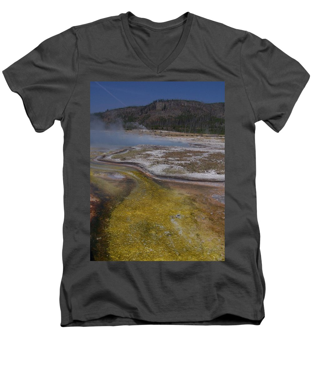 Geyser Men's V-Neck T-Shirt featuring the photograph River Of Gold by Gale Cochran-Smith
