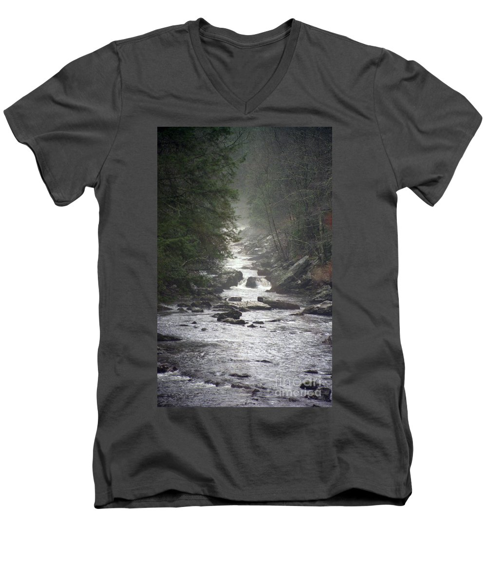 River Men's V-Neck T-Shirt featuring the photograph River Run by Richard Rizzo