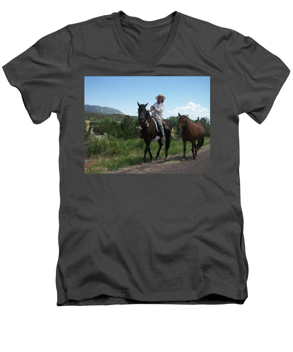Horses Men's V-Neck T-Shirt featuring the photograph Roadside Horses by Anita Burgermeister