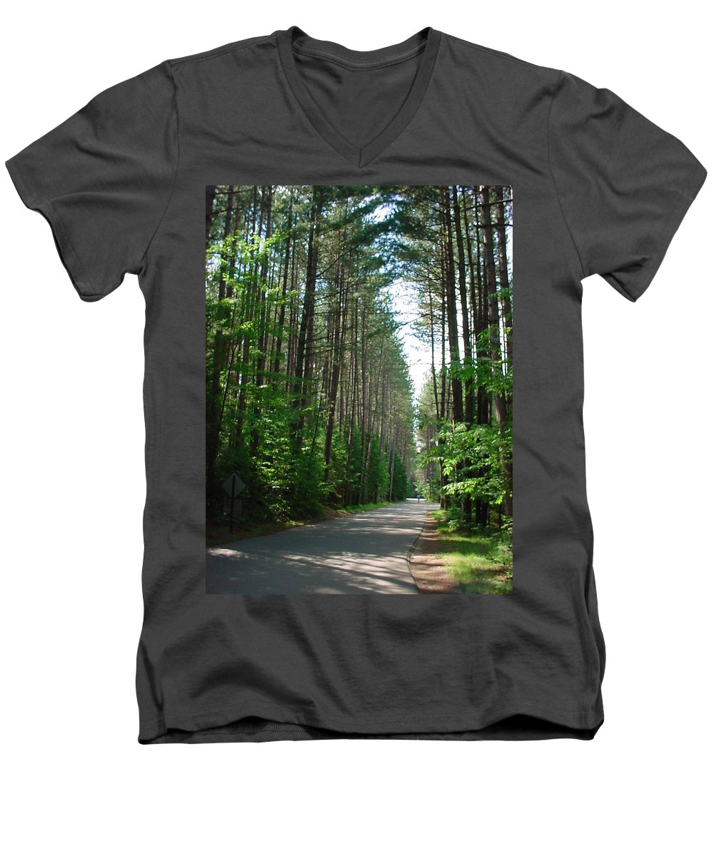 Fish Creek Men's V-Neck T-Shirt featuring the photograph Roadway At Fish Creek by Jerrold Carton