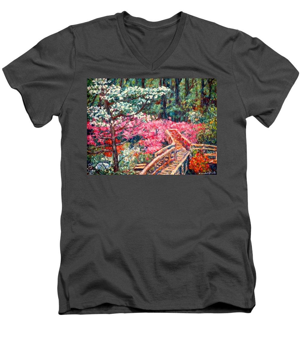 Garden Men's V-Neck T-Shirt featuring the painting Roanoke Beauty by Kendall Kessler