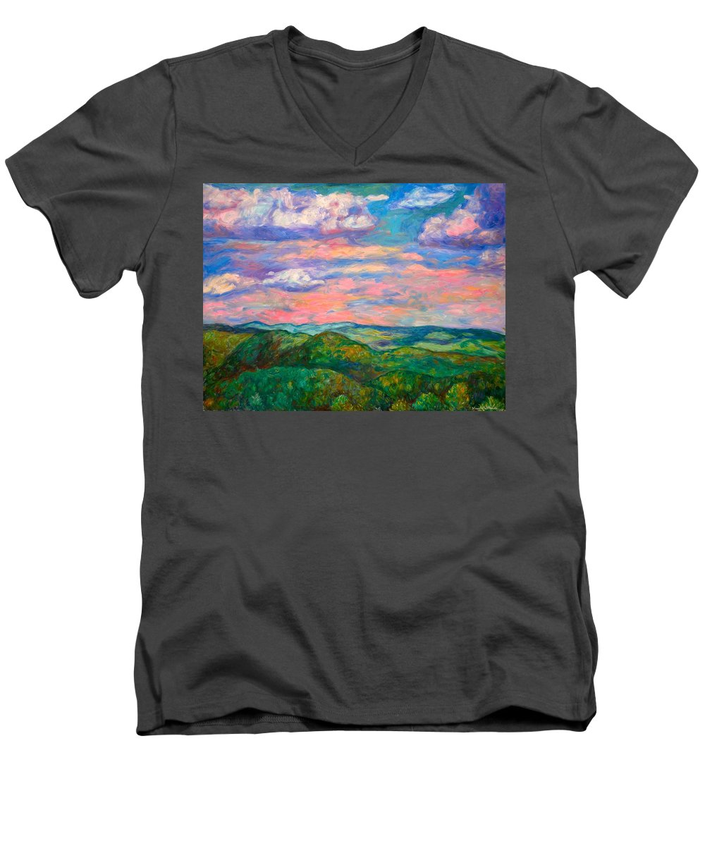 Landscape Paintings Men's V-Neck T-Shirt featuring the painting Rock Castle Gorge by Kendall Kessler