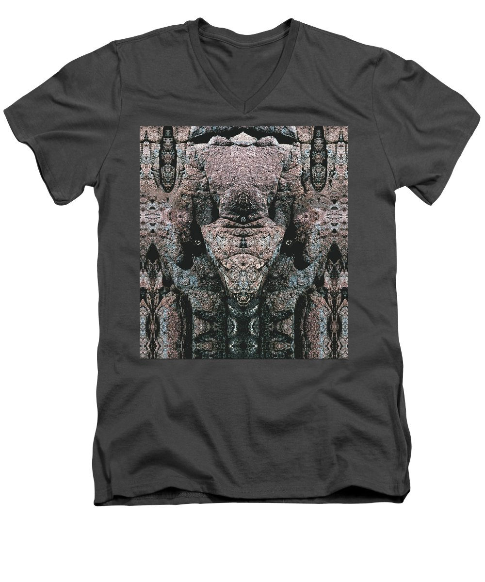 Rocks Men's V-Neck T-Shirt featuring the digital art Rock Gods Elephant Stonemen Of Ogunquit by Nancy Griswold